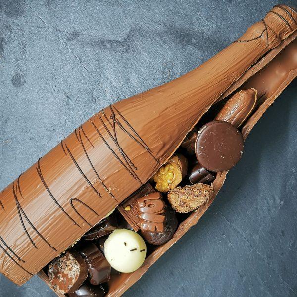 Bouteille de champagne en chocolat