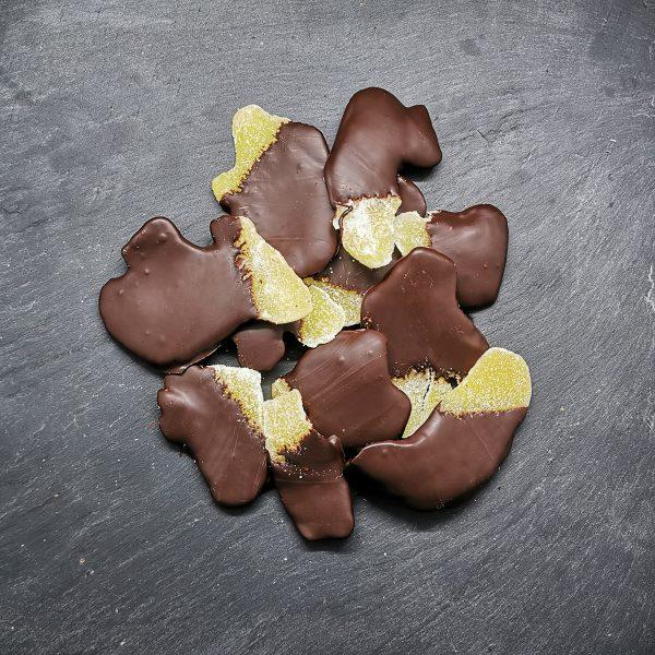 Tranche de gingembre enrobée de chocolat